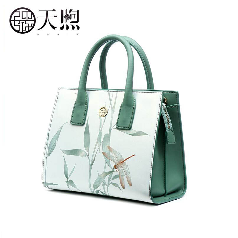Split Leather women bag Printed shoulder bag handbag Messenger bag Boston package