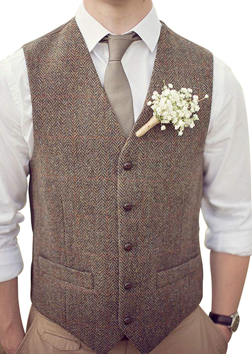 biggest selection great variety models best service US $20.39 15% OFF|New Brown Mens Casual Suit Vests Wool Herringbone Tweed  Waistcoat Slim Sleeveless Suit Jacket Groomsmen vest for Wedding 2019-in ...