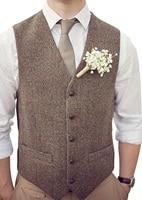 New Brown Mens Casual Suit Vests Wool Herringbone Tweed Waistcoat Slim Sleeveless Suit Jacket Groomsmen vest for Wedding 2019