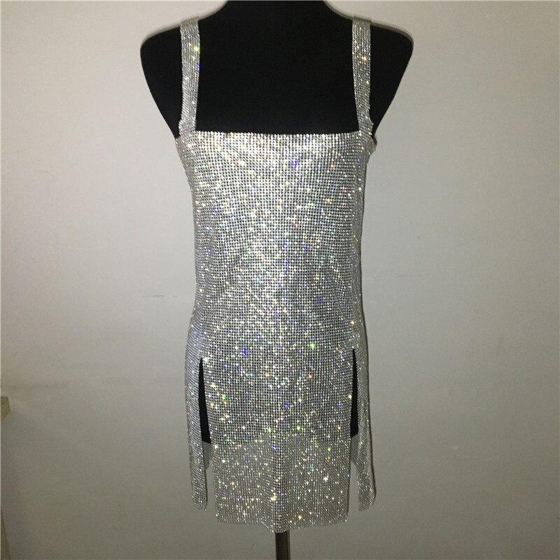 Women Sexy Metal Chain Rhinestone Crystal Diamond Strap Dress Backless Split Dress Festival Rave Dresses Nightclub Party Vestido