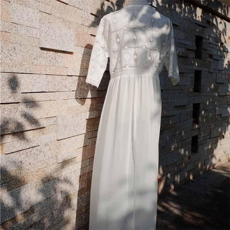 ... Vetement Femme 2019 Summer Dresses For Women Chiffon Beach Tunic Sexy  Lace Hollow Out Transparent Maxi ... 4876f3a1546d