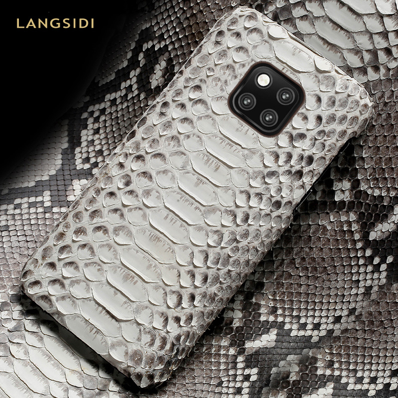 natural Python Leather phone case for Huawei mate 20 P10 P20 P30 Pro lite snakeskins Luxury Cover For honor 20 Pro 10 10I 8x 9x Half-wrapped Cases     - title=