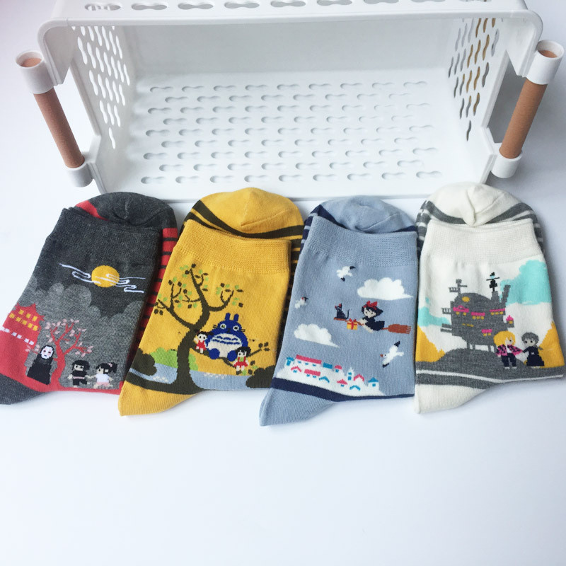 Cartoon Totoro Spirited Away Howl's Moving Castle Harajuku Women Socks Japanese Cute Female Comfoable Funny Socks Cotton 4 Pairs