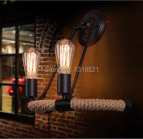 New vintage wall light with rope Arandela Special Iron Light Fixtures Antique Hemp Rope Wall Lamp Vintage Lampshade