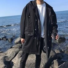 2018 Spring Newest Mens Fashion HongKong Style Hooded Mid-Long Clothes Loose Casual Black/Green Color Windbreaker Coats M-XL