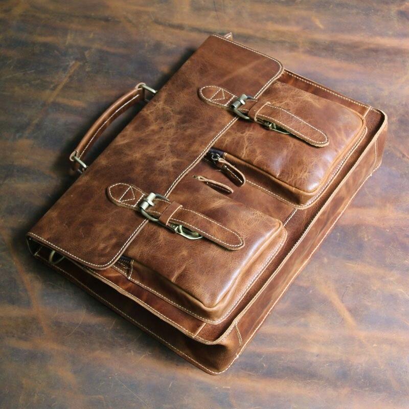 Высококачественный Мужской винтажный кожаный портфель Crazy Horse, сумка через плечо, сумка для ноутбука, чехол, Офисная сумка 1061 - 2