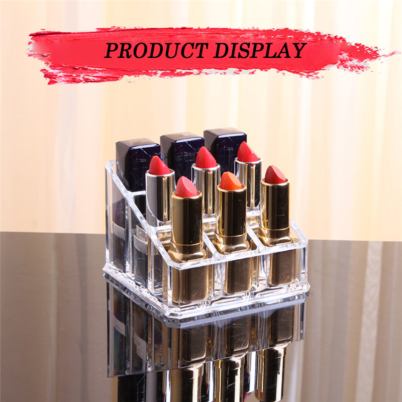 9 Lipstick Holder Display Stand Clear Acrylic Cosmetic Organizer Makeup Case Sundry Storage Brand New Makeup Brushes Organizer display stand clear acrylic cosmetic organizer makeup case storage makeup organizer organizator makeup brush control holder