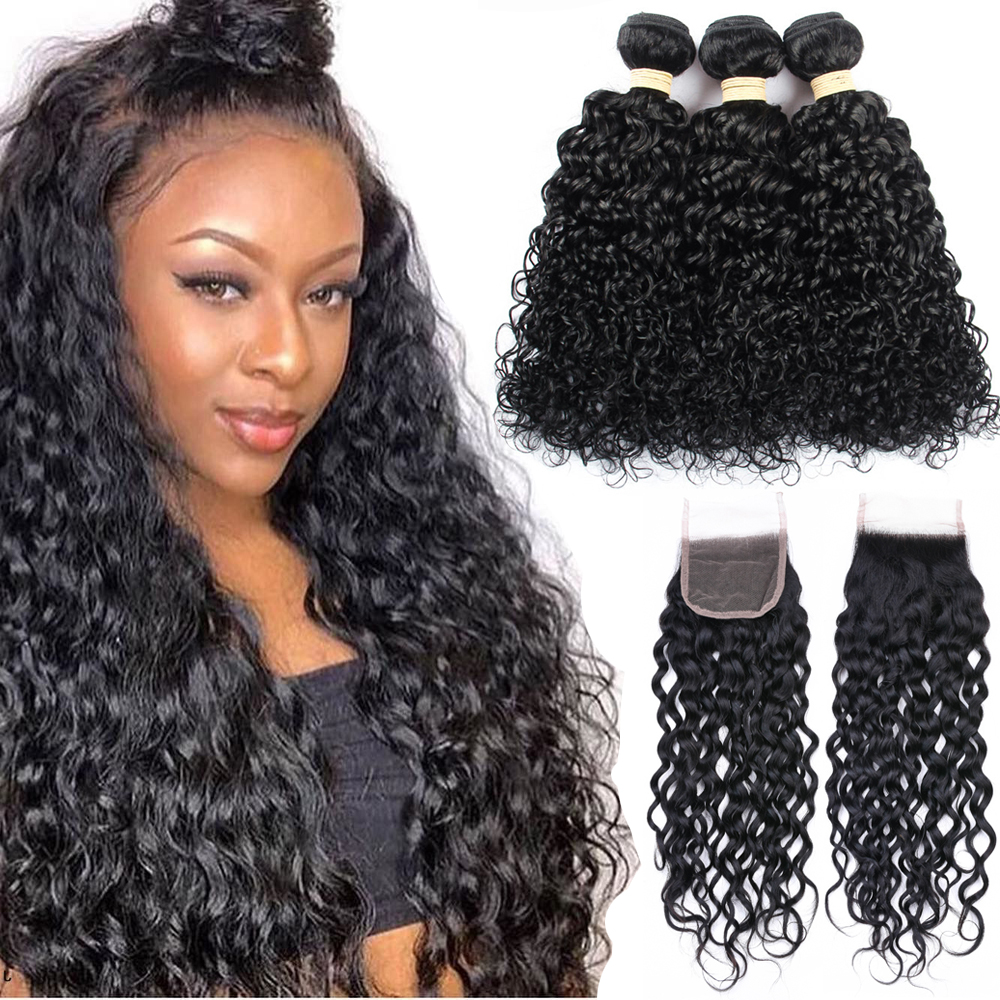 Sapphire Hair Water Wave Bundles With Closure Brazilian Hair Weave Bundles With Closure Remy Human Hair