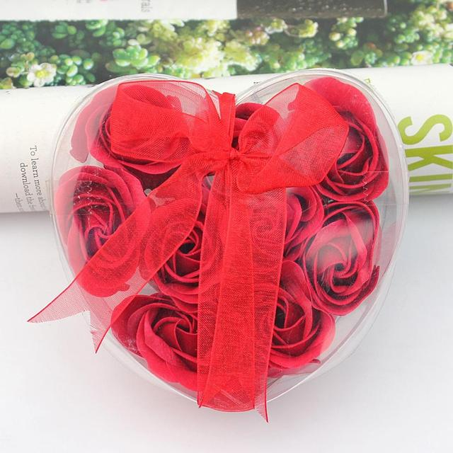 9 PCS Bath Body Soap Heart Rose Petal Favor Flower Scented Red Soap Skin Care Deep Cleaning Brighten Skin Wedding Party Gift