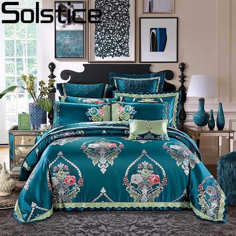 Solstice European Style Super Luxury Jacquard 4Pcs Bedding Set 100% Cotton Bedspread Flower Duvet Cover Bedlinen Queen King SizeSolstice European Style Super Luxury Jacquard 4Pcs Bedding Set 100% Cotton Bedspread Flower Duvet Cover Bedlinen Queen King Size