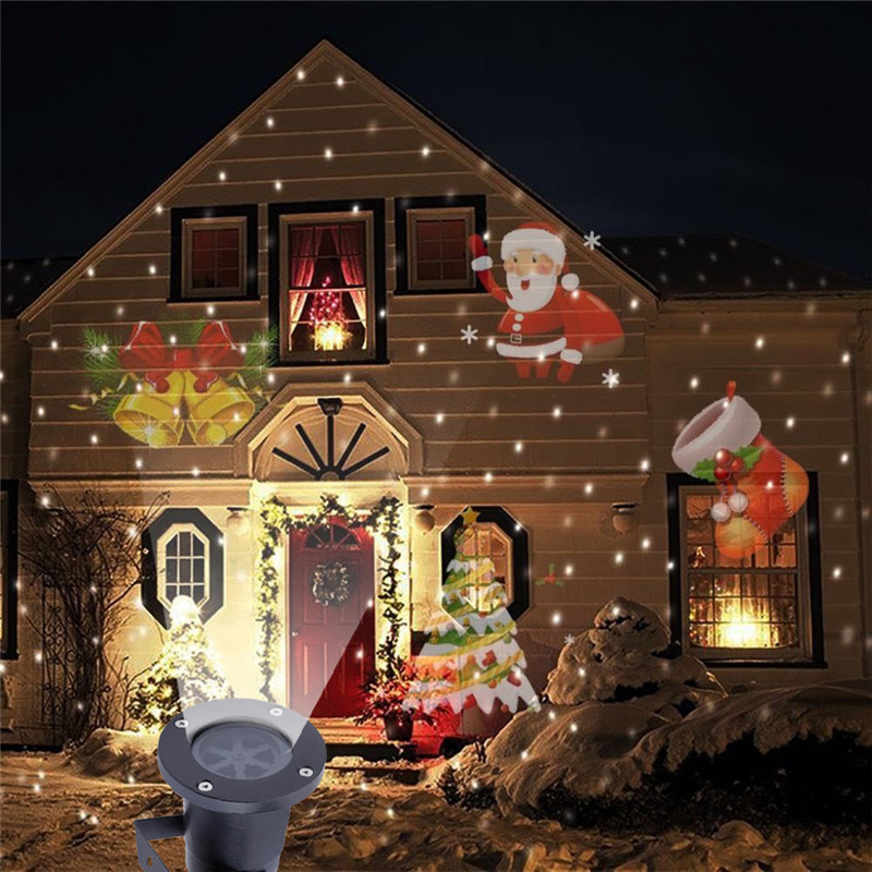 Outdoor LED Stage Lights Christmas Moving Laser Projector Lamp Small Bell Santa Christmas Tree Socks Landscape