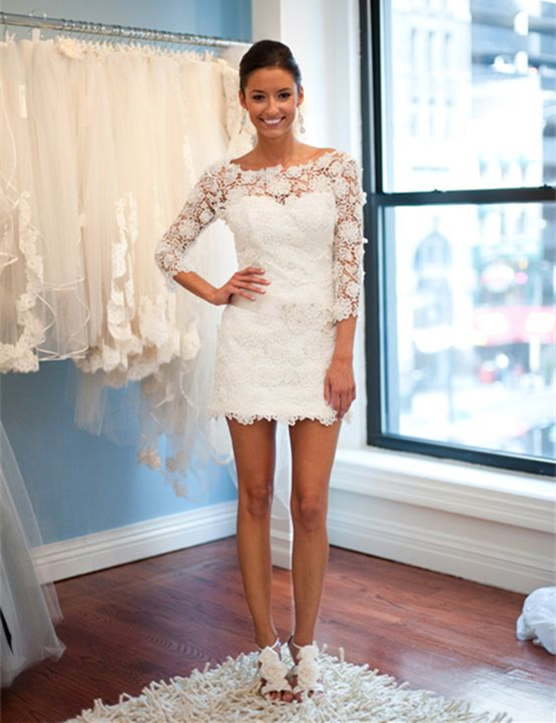 Beautiful Lace Applique Neckline Mini Short Wedding Dress Lovely 2017 Sleeves Beach L0089 In Dresses From Weddings