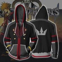 3d zíper hoodie anime reino corações cosplay moletom com capuz masculino jaqueta roupas