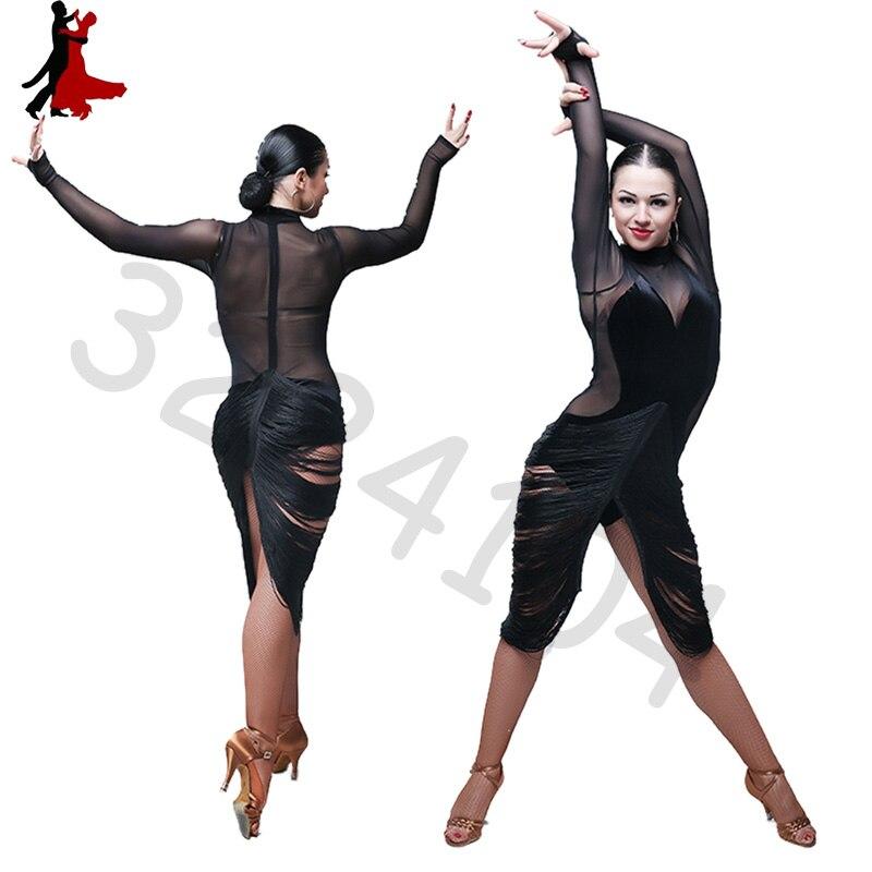 2018 new fashion Sexy fringe latin dance dress women tassel long sleeve professional cheap sexy skirts size S-XL free shipping