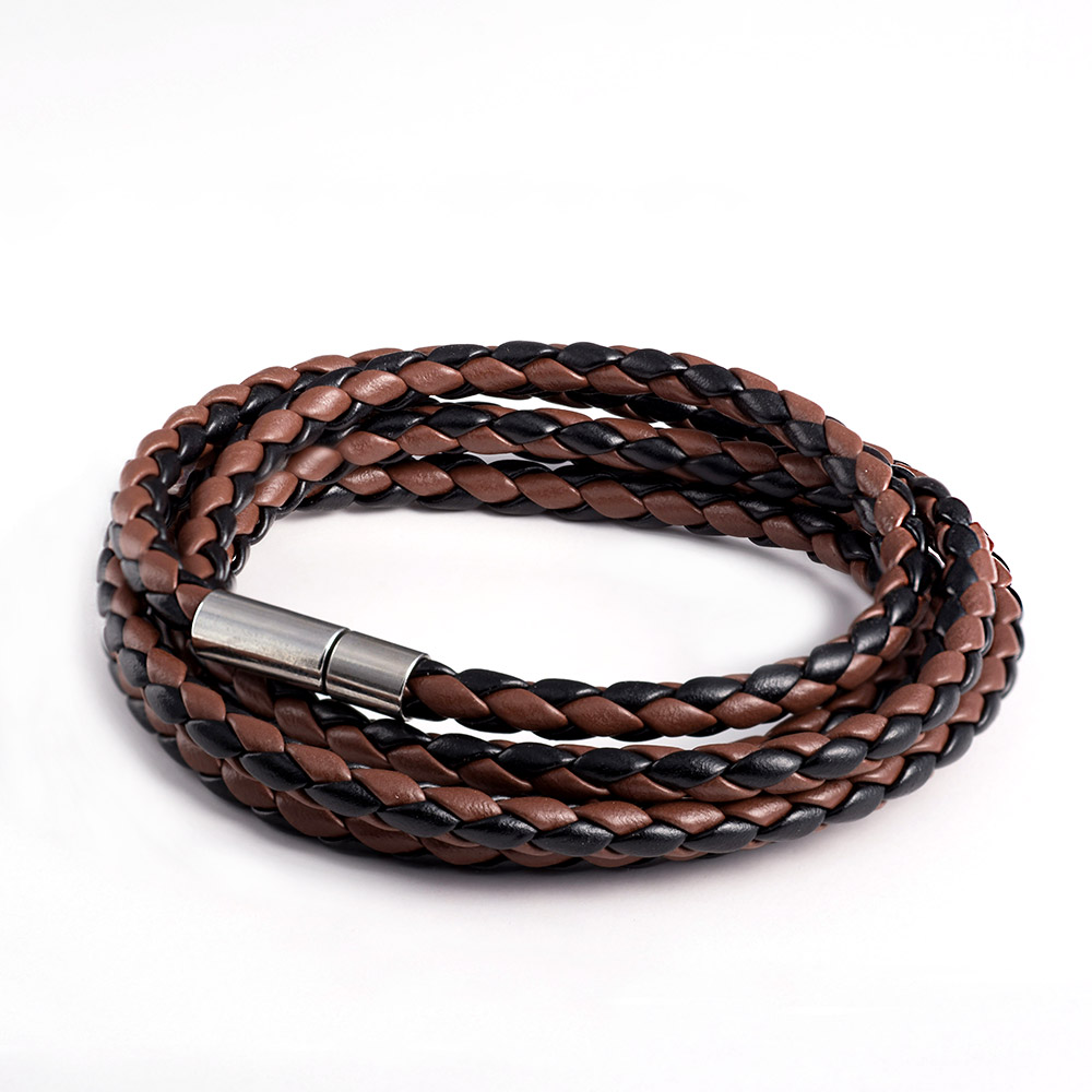 New Men Vintage 5 Layered Genuine Leather Bracelet Personality Punk Charm Bracelet Cool Stainless Steel Bracelet Free Shipping