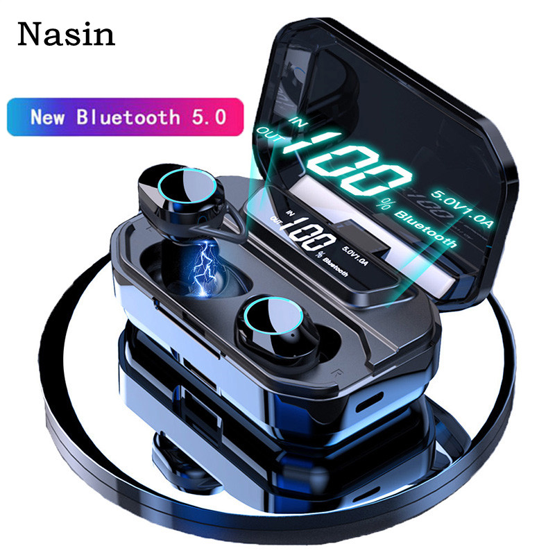 Nasin TWS 5 0 Bluetooth 9D Stereo Wireless Earbuds IPX7 Waterproof Earphones 3300mAh LED Smart Phone