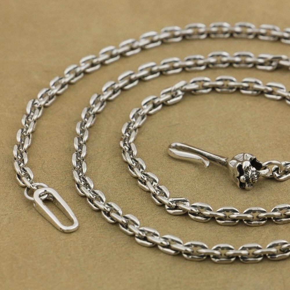 LINSION 4mm carré lien chaîne 925 argent Sterling crâne crochet fermoir charmes collier TA35 longueur 18 à 36 pouces disponible