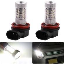 Светодиодный лампы H8 16SMD 2828 80W 6500 K-7000 K белый светильник светодиодный лампы для Светодиодный туман светильник фара дальнего света лампы(DC12-24V) белый светильник