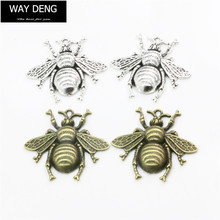 Pack of 4 Vintage Zinc Alloy Cute Honeybee Charm 40×38 MM DIY Craft Findings Necklace Pendant Jewelry Making – YJF026