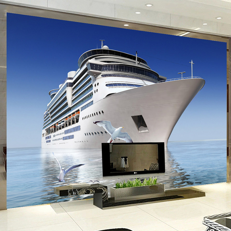 Custom Photo 3D Wallpaper Blue Sky Cruise Seagull Backdrop Living Room Bedroom TV Background Decorative Mural wallpaper for wall free shipping england wind red white blue fashion backdrop tv backdrop bedroom living room mural wallpaper