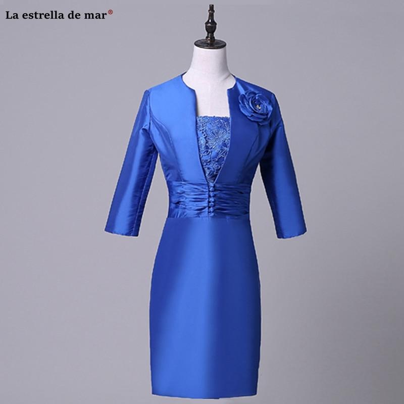 Vestido madre de la novia new satin half sleeve royal blue Sheath mother of the bride dresses Tea-Length wedding guest Gown