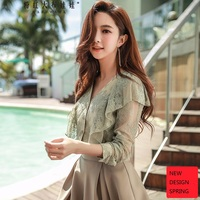 Original Design 2018 Brand Spring Autumn V Neck Vintage Casual Mesh Embroidery Pea Green Lace Blouse