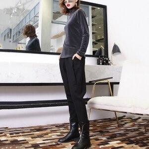 Image 2 - [EAM] wysoka elastyczna talia czarny rozrywka krotnie spodnie haremowe nowy luźny krój kobiety moda fala wiosna jesień 2020 JK480