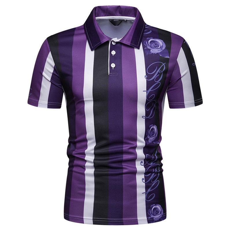 Hawaiian   Polo   Shirt Men Vertical Stripes Short sleeves Blusas Beach Summer Tops Lapel Men   Polo   Shirt Purple Orange