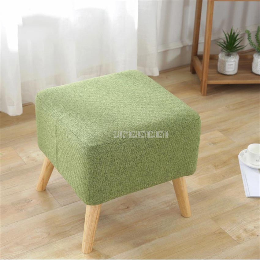 Modern Upholstered Soft 4 Wood Legs Foot Low Stool Cotton Living Room Shoes Change Bedroom Sofa Side Mini Ottoman Stool