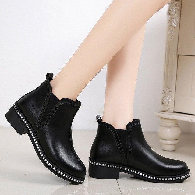 Kadın Kare Topuk Ayakkabı Martain Çizme Deri Slip-On Düz Renk Yuvarlak Ayak Ayakkabı deri çizmeler kadın martin # g10
