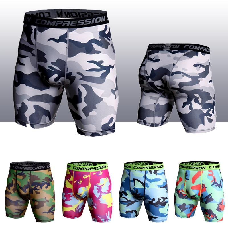 2019 Camouflage Shorts Men Panelled Compression Shorts Bottoms Tights Fitness Leggings Bodybuilding Under Wear Short Joggers Men
