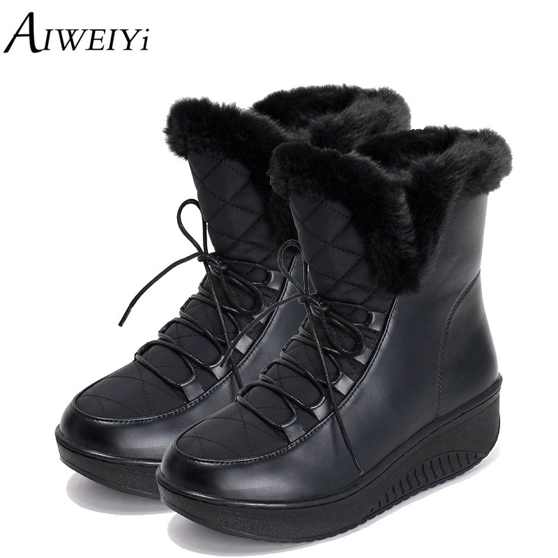 AIWEIYi Winter Snow Boots Women Fur Warm Ankle Boots Plush Platform Flats Short Boots Lace UP Ladies Shoes 2018 Black Booties fedonas top quality winter ankle boots women platform high heels genuine leather shoes woman warm plush snow motorcycle boots