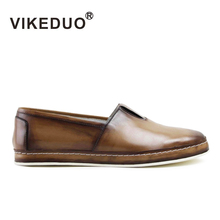 VIKEDUO 2019 Hot Casual Mens Loafers Shoes Handmade Patina Brown Leather Mans Footwear Slip-On Flat Zapato Hombre