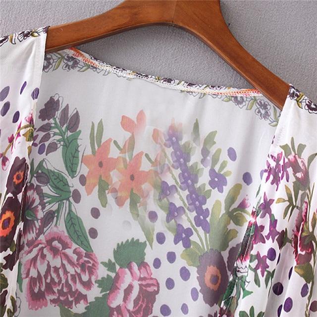 Japanese Kimono robe Cardigan Women Fashion Chiffon Street Casual Wear Floral Print Cover Up Beach Long Blouse v neck bat shirts 5