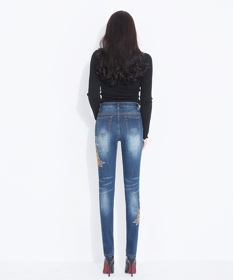 KSTUN FERZIGE Jeans Women High Waisted Pencils Pants Skinny Slim Fit Stretch Light Blue Embroidery Flowers Washed Femme Large Size 36 16