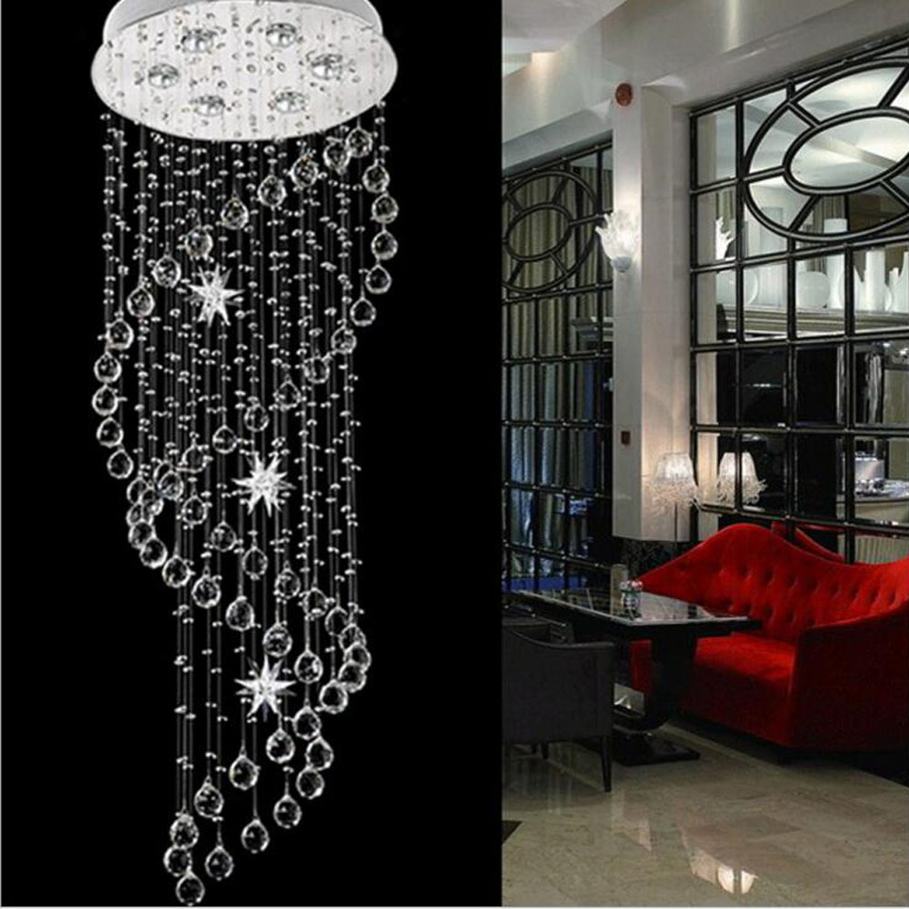 Creative modern hanging crystal lamp spiral round double staircase chandelier personality living room dining room ceiling lamp modern crystal chandelier hanging lighting birdcage chandeliers light for living room bedroom dining room restaurant decoration