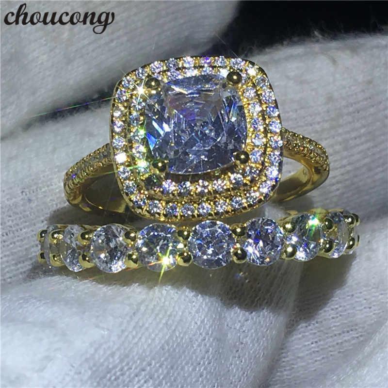 Choucong 2018 Бесконечность кольцо набор желтое золото заполнены 925 серебро обручальное кольцо кольца для женщин прозрачный фианит AAAAA ювелирные изделия