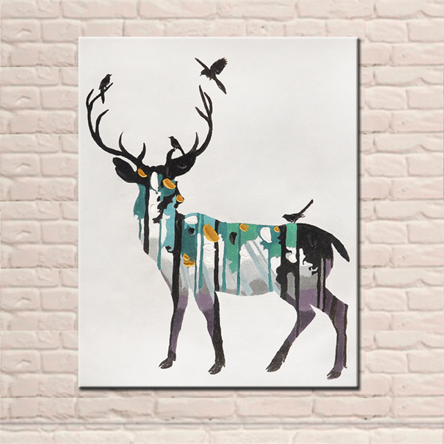 New Design Hand Painted Modern Abstract Animal Elk Oil Paintings Deer Wall  Art Canvas Pictures For