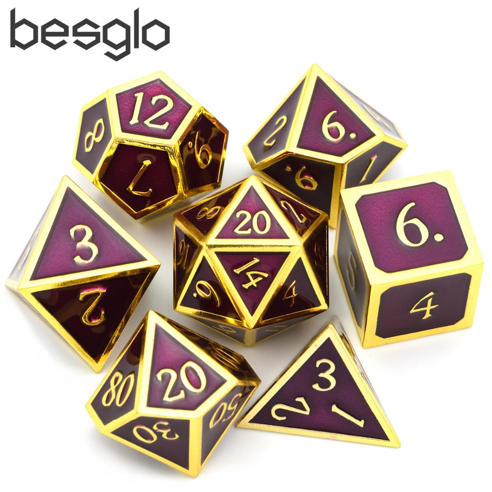 7 Pieces Zinc Alloy Dices Set Table Game Polyhedral Solid Metal Dice Set For Role Playing Game Dungeons And Dragons - Purple