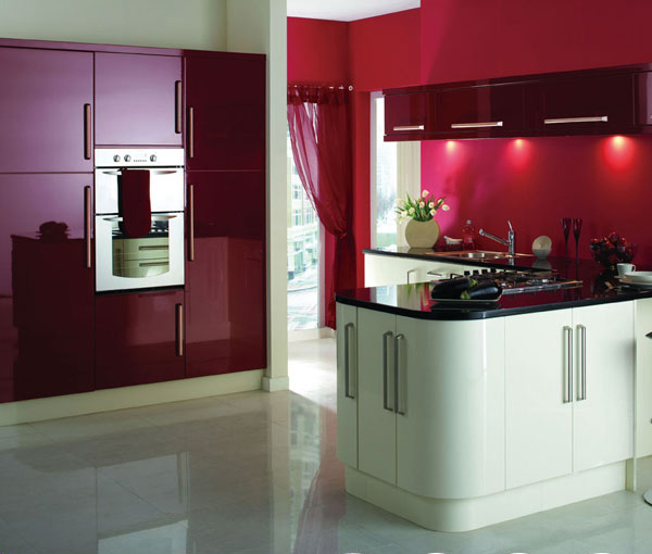 White Lacquered Kitchen Cabinetry: Purplish Red And White Lacquer Kitchen Cabinet-in Kitchen