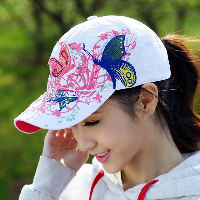 2016 New Fashion New High quality embroidered flowers and butterflies baseball Sport Fashion for women baseball hat wholesale