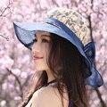 Summer sun shading del sombrero grande protector solar anti ultravioleta femenino exterior plegable casquillo de la playa mz