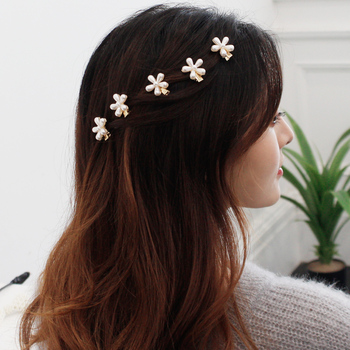 Fashion Girls Flower Pearl Hairpin Female Hairclips Ladies Sweet BB Side Clip Hairgrips Hair Accessories For Women women girls japanese style side hair clip water drop shape duckbill hairgrips colored marble textured printed hair accessories