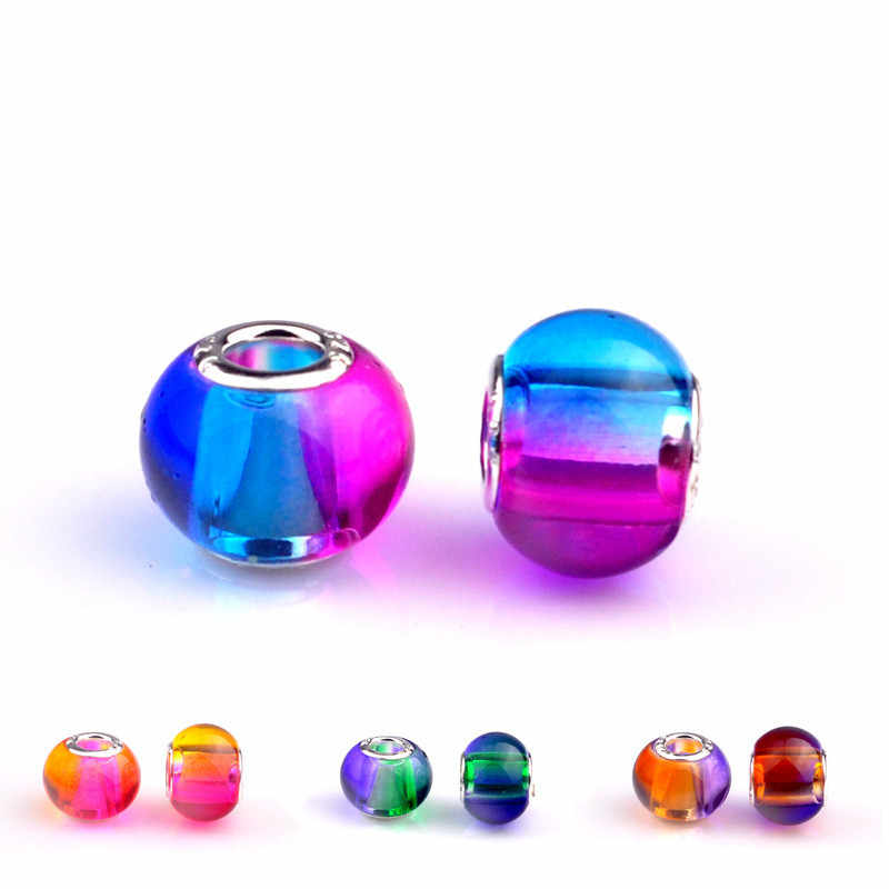 1 個 New カラフルな。虹手作りランプワークガラスビーズ色オプション大穴ガラスビーズフィットパンドラブレスレット