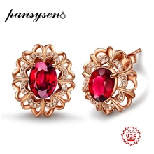 PANSYSEN Fashion 100% 925 Sterling Silver Rose Gold Color Ruby Stud Earrings For Women New Authentic Original Fine Jewelry Gift
