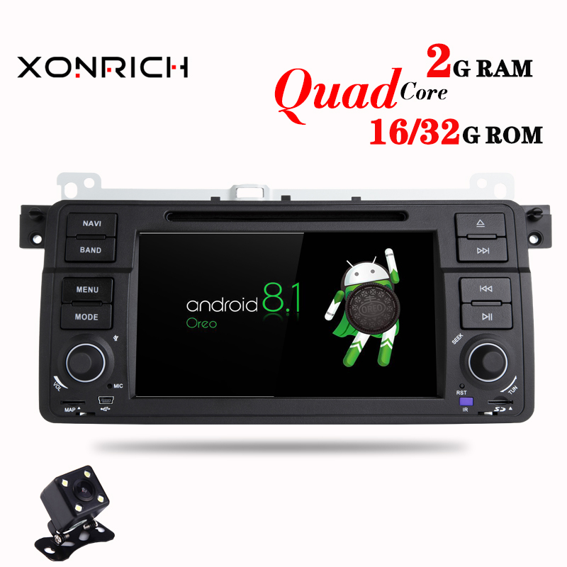 1 Din Android 8.1 Quad Core Car DVD Player For BMW E46 M3 318/320/325/330/335 Rover 75 1998-2006 GPS Navigation BT Wifi