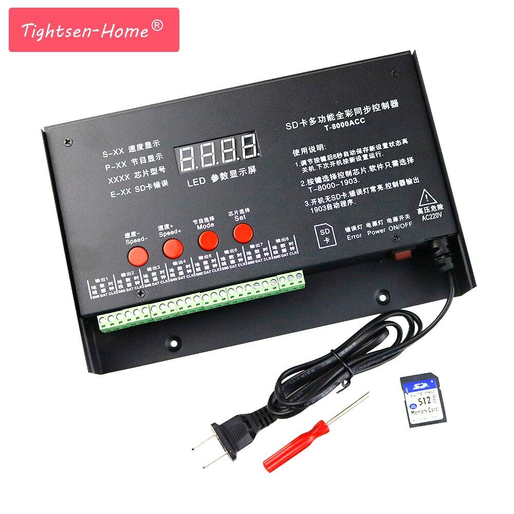 8192 Pixels T8000 T-8000A AC 220 V/110VSD Carte Contrôleur De Pixel pour WS2801 WS2812B WS2811 LPD8806 RVB LED Contrôleur De Bande DC5V
