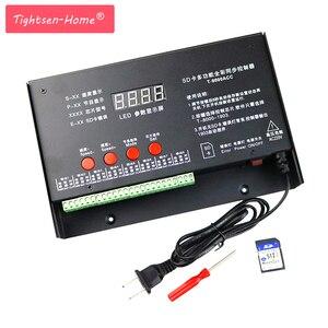 8192 pikseli T8000 T-8000A AC 220 V/110VSD karty regulator pikseli dla WS2801 WS2812B WS2811 LPD8806 LED RGB kontroler taśmy DC5V