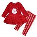 2016 Da Criança Recém-nascidos Do Bebê Roupas de Menina Definir Saia Vestido + Calças XMAS Outfit 0-3 Anos