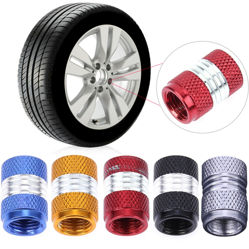 TOMALL Round Style Tire Valve Stem Caps Red for Vehicle Motorcycles Wheel Dust Caps